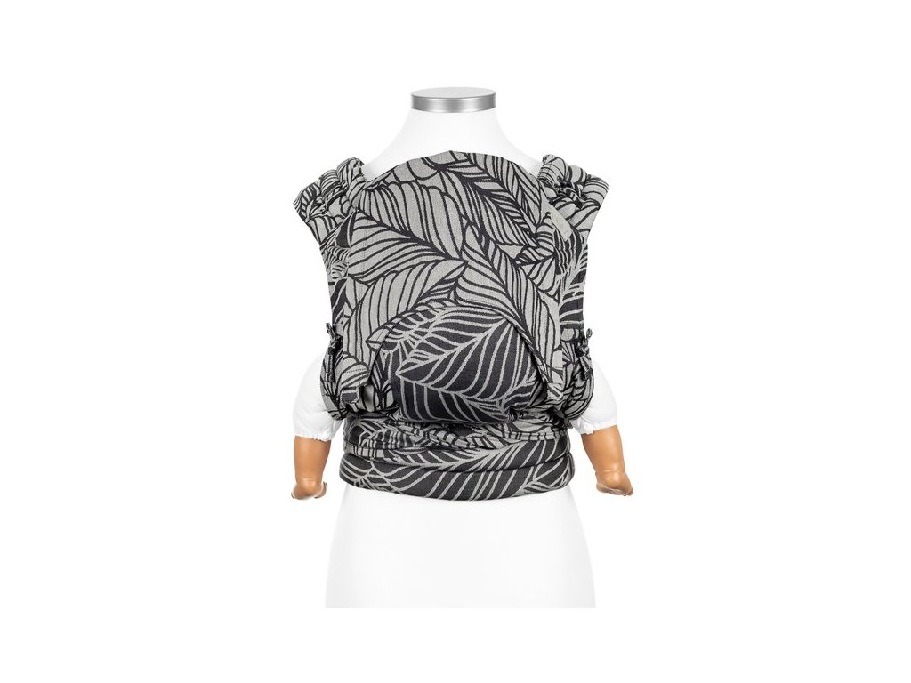 fly tai mei tai baby carrier dancing leaves black white baby