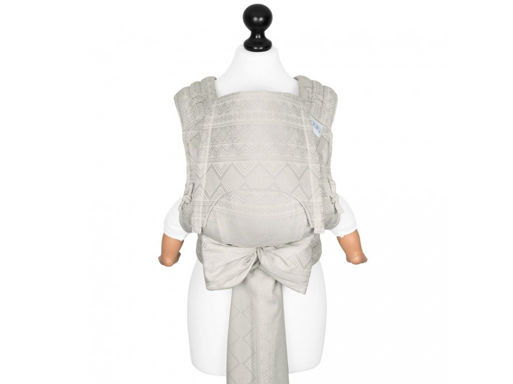 baby size fly tai mei tai baby carrier classic cubic lines pale grey