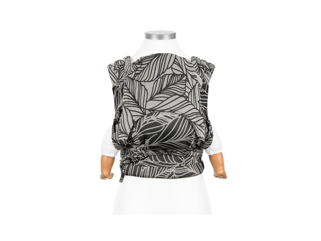 flyclick halfbuckle baby carrier dancing leaves black white baby