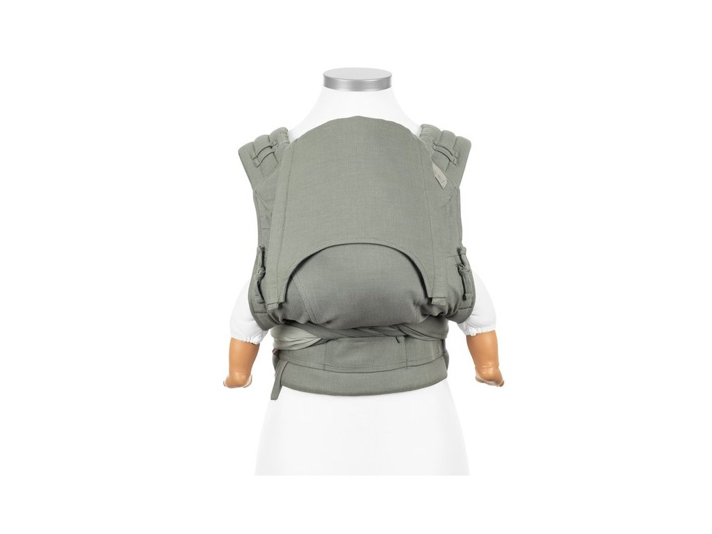 Ergonomické nosítko fidella flyclick half buckle babytrage chevron green baby