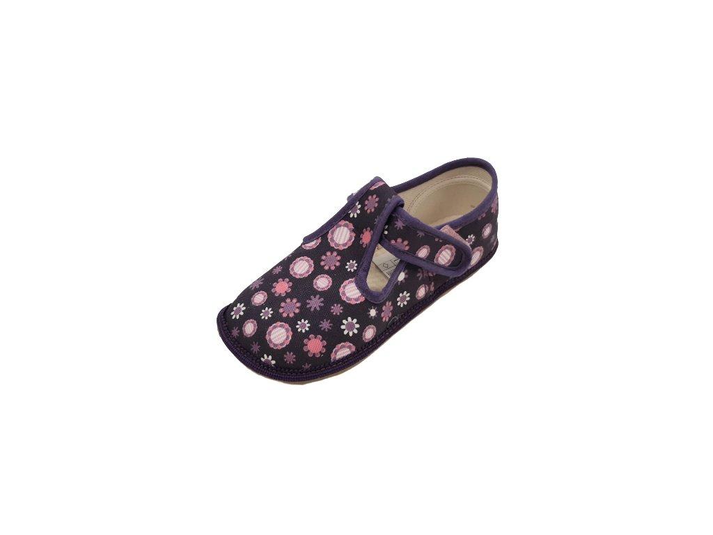 Beda barefoot přezůvky široké fialové kvítko 060010/W