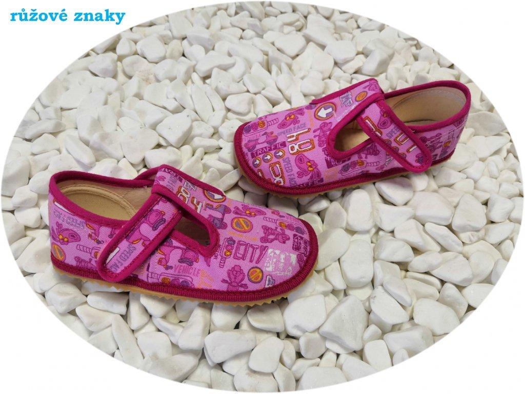 Beda barefoot přezůvky široké růžové znaky 060010/W