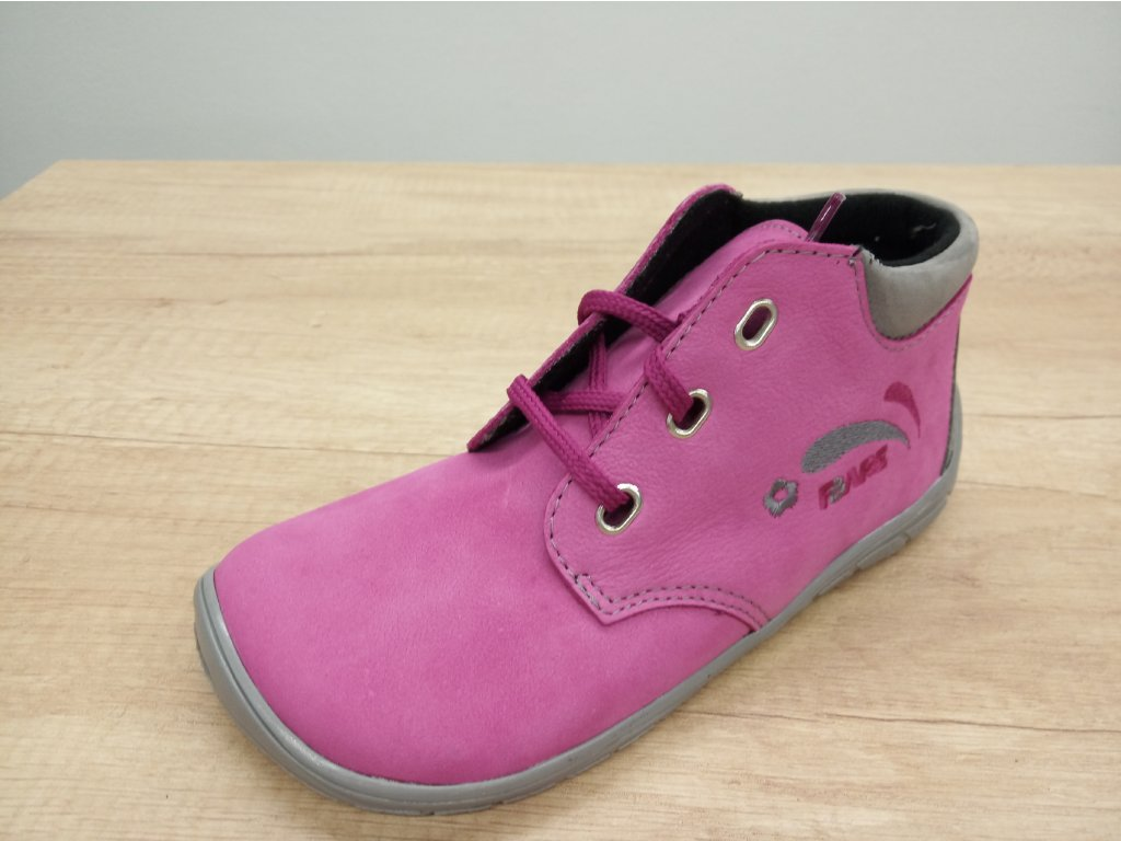 Fare Bare vyšší dětské celoroční barefoot boty s flísem a tkaničkami 5221251
