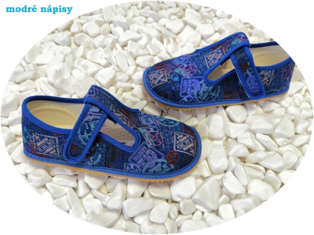 Beda barefoot přezůvky široké modré nápisy 060010/W