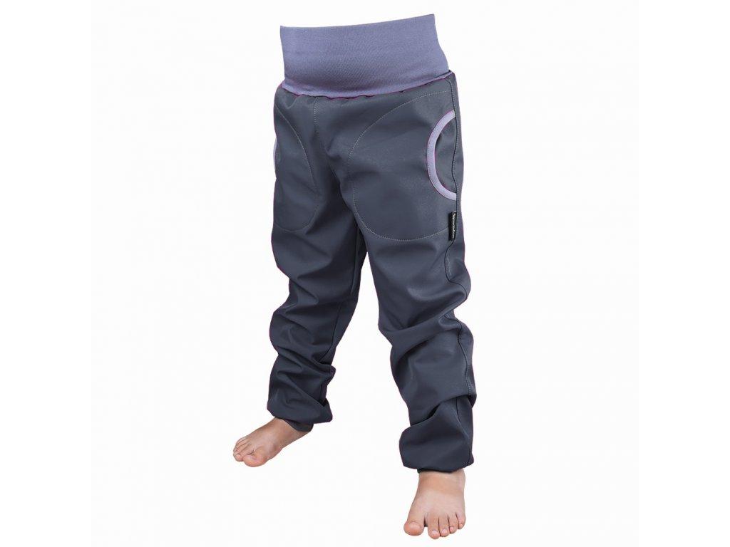 Šijeme srdcem Šedé softshellové kalhoty s fleecem a kapsou 3419