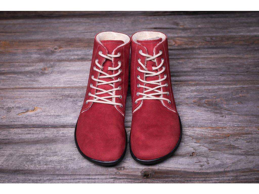 Be Lenka zimní barefoot obuv Winter Wine vínové