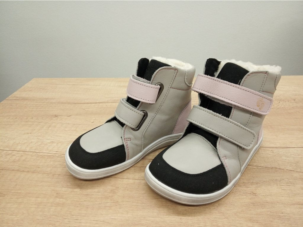Baby Bare Shoes zimní barefoot obuv FEBO Winter Grey/Pink