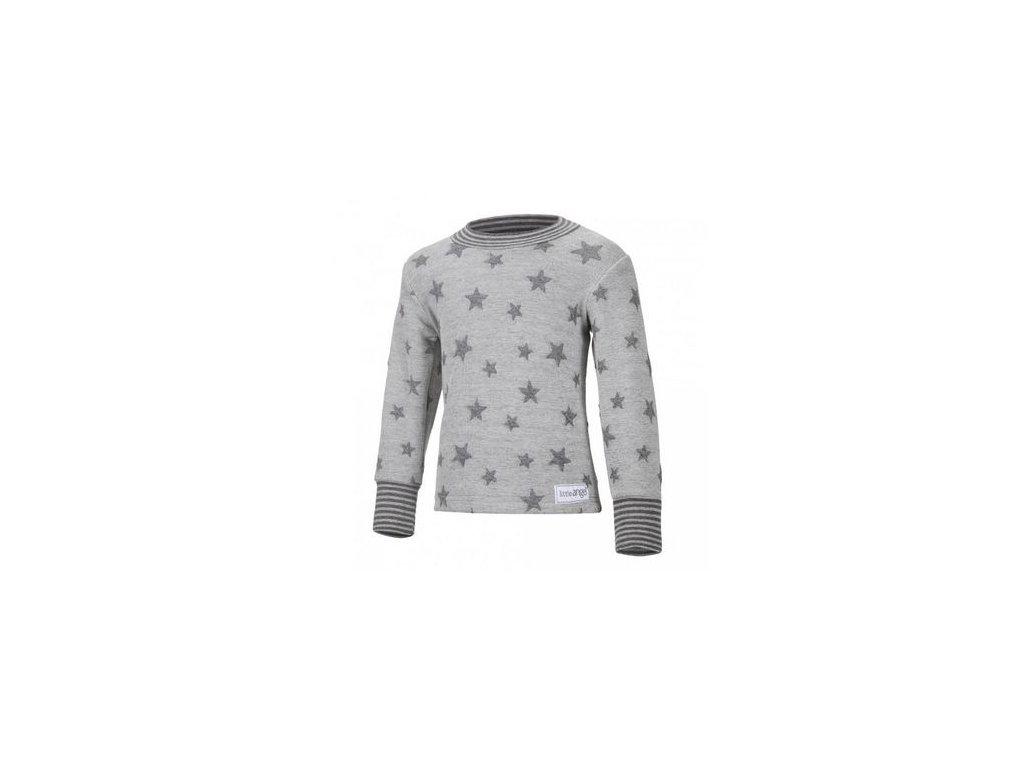 Little Angel  Mikina hvězdičky -  šedý melír hvězdičky