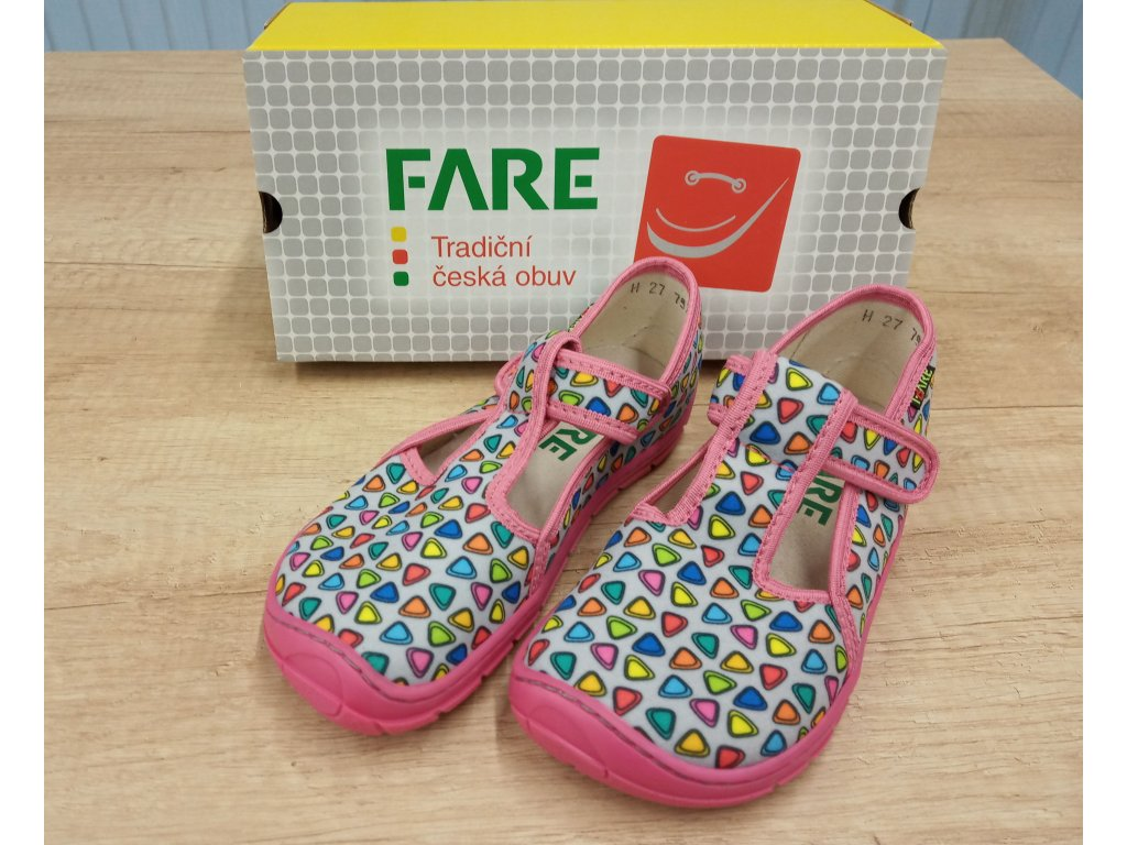 Fare Bare dětské barefoot přezůvky RŮŽOVÉ TROJÚHELNÍKY na suchý zip 5102461