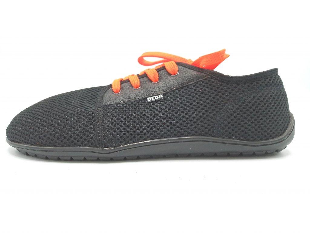 Beda barefoot síťované tenisky Black Orange 0002 ST (1)
