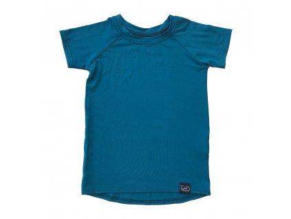 Šijeme srdcem dětské petrolejové bambusové tričko 0301