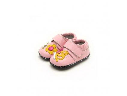 Freycoo barefoot capáčky Karina růžové s koženou podrážkou 02