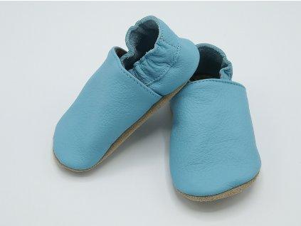 baBice kožené barefoot capáčky Plain Baby Blue světle modré 121 (3)