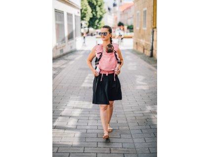 Ergonomické nosítko Lenka Mini Pink klasické popruhy + chrániče ramenních popruhů