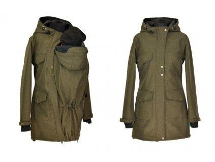 Shara Softshellový nosící kabát pro přední nošení jaro/podzim khaki
