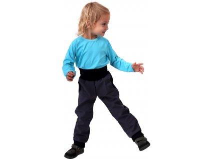 Jožánek Dětské softshellové kalhoty s náplety a regulací pasu, antracitové (šedé)