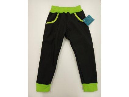 Shara Dětské kalhoty softshellové - černá/zelená
