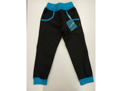 Shara Dětské kalhoty softshellové - černá/modrá
