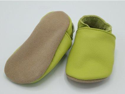baBice barefoot capáčky Plain Baby hráškově zelená BA-051