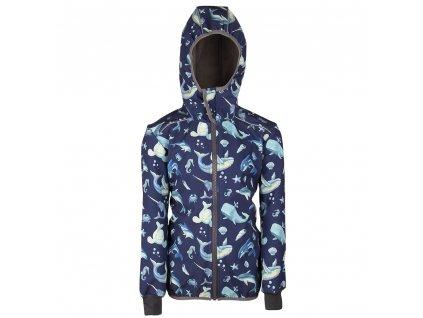 Šijeme srdcem Modrá softshellová bunda mořský svět 3305