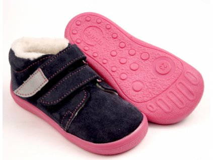 Beda zimní barefoot obuv Elisha s membránou a kožíškem na suchý zip 0001/WMK