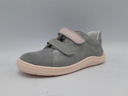 Baby Bare Shoes celoroční barefoot obuv Febo Spring Nubuk Grey/Pink