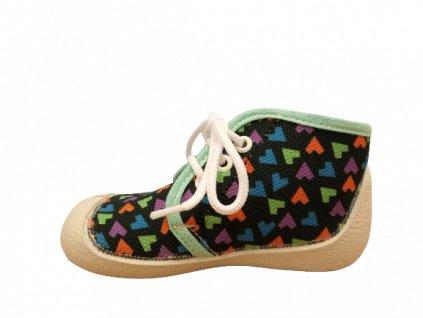Boots4U textilní tenisky capáčky T015A tmavý potisk