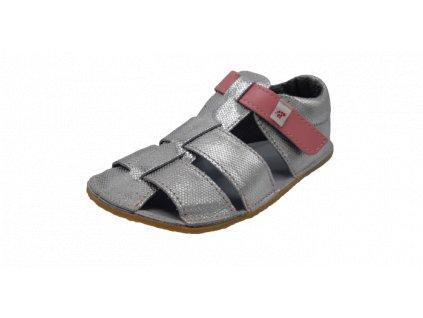 EF Barefoot sandály baleríny stříbrná růžová
