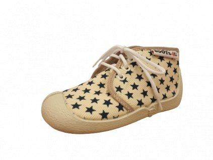 Boots4U textilní tenisky capáčky T015A hvězda světlý potisk