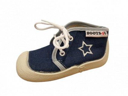 Boots4U textilní tenisky capáčky T015A modrá
