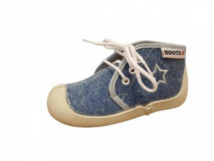 Boots4U textilní tenisky capáčky T015A jeans světlý