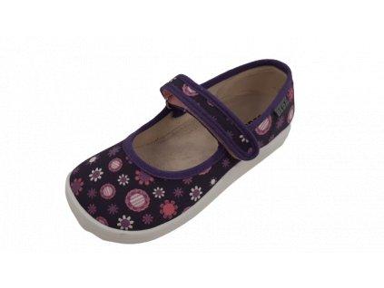 Beda barefoot textilní baleríny BF0001/BA Violet Flowers