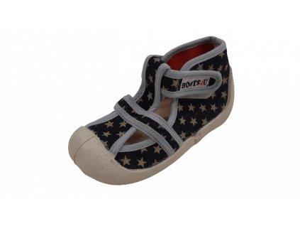 Boots4U textilní sandály capáčky T020 hvězda tmavá