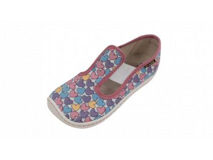 Fare Bare dětské barefoot přezůvky SRDCE na gumičku 5101451