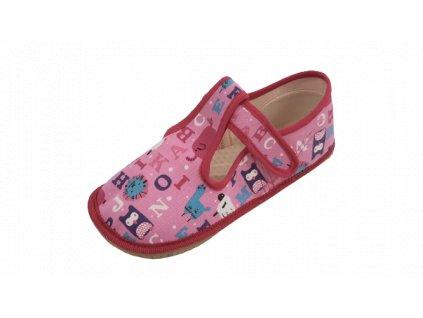 Beda barefoot přezůvky SLIM růžová písmena 060010/W/02
