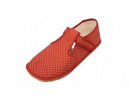 Beda barefoot přezůvky široké červený puntík 060010/W
