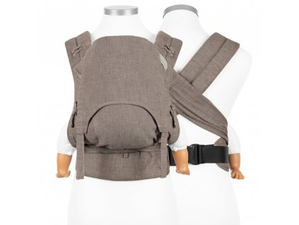 ergonomické nosítko fidella flowclick half buckle babytrage chevron walnussbraun baby