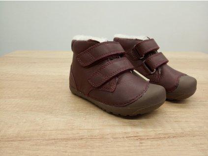 Bundgaard zimní barefoot obuv Petit Winter Mid Velcro Plum 403