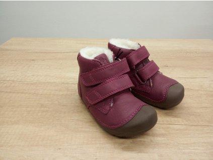 Bundgaard zimní barefoot obuv Petit Winter Mid Velcro Rosewine 715