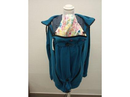 Shara Nosící mikina pro přední i zadní nošení tyrkysová s akvarelovými trojúhelníky