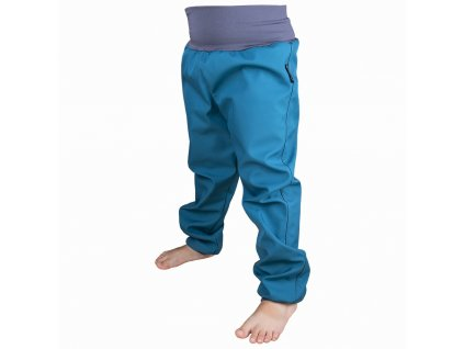 softshellove kalhoty petrolejove s fleecem 1