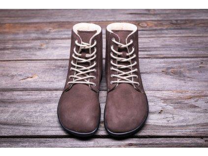 Be Lenka zimní barefoot obuv Winter Chocolate čokoládové