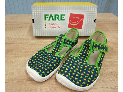 Fare Bare dětské barefoot přezůvky ZELENÉ TROJÚHELNÍKY na suchý zip 5102432