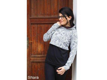 Shara kojicí mikina - černá/černobílé ornamenty