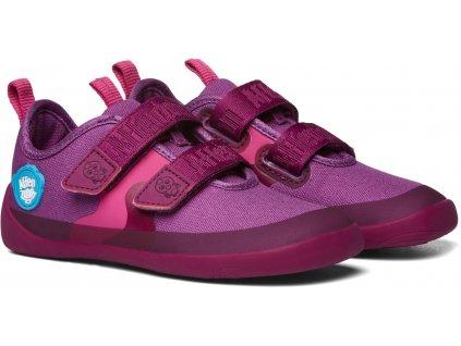 Dětské barefoot botičky Affenzahn Cotton Sneaker Bird - Berry