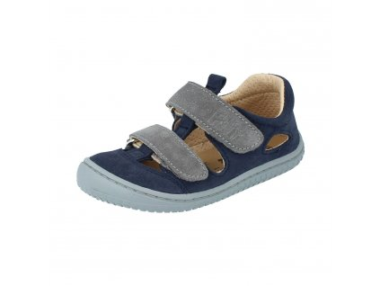Filii barefoot sandály Kaiman velours leather ocean velcro M 20012 28
