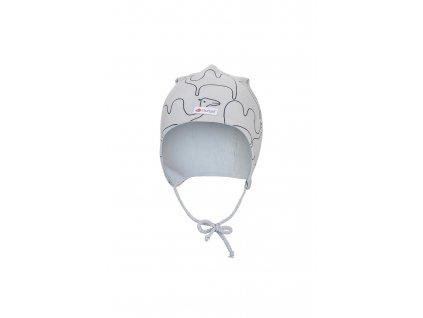 Čepice zavazovací BIO podšitá Outlast ® béžová velbloud sv.modrá