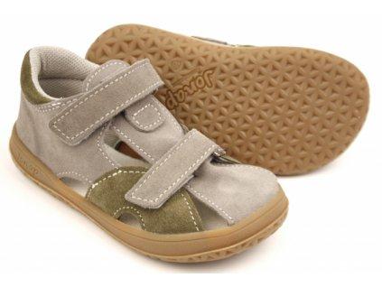 Jonap barefoot sandálky B8/S - šedo zelená