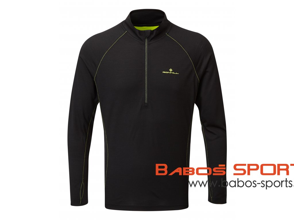 RH 005121 R848 Black FluoYellow Mens Tech Merino Half Zip Tee Front