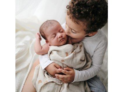 Mushie muselinova BIO zavinovacka rainbows novorodenec